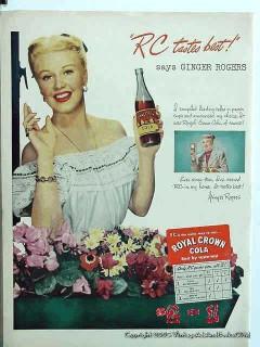royal crown cola 1948 ginger rogers rc soda pop vintage ad