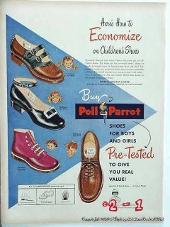 poll parrot childrens shoes 1948 roberts johnson rand shoe vintage ad