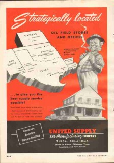 United Supply Mfg Company 1951 Vintage Ad Gas Oil Drilling Equipment