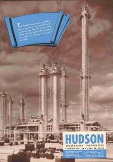 Hudson Engineering Corp 1951 Vintage Ad Hydrocarbon Processing Plants