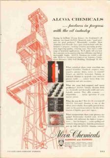Alcoa Chemicals 1951 Vintage Ad Oil Gas Aluminas Fluorides