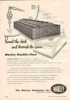 Marley Company 1951 Vintage Ad Oil Double-Flow Cooling Towers Clock
