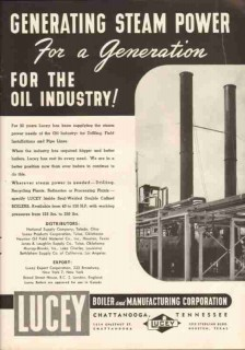 Lucey Boiler Mfg Corp 1951 Vintage Ad Oil Industry Generating Steam
