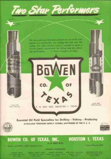 Bowen Company Texas Inc 1951 Vintage Ad Oil Field Well Drilling Tools
