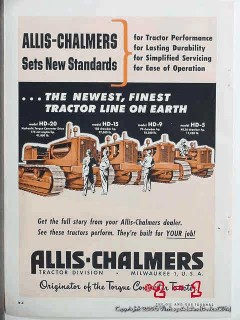 allis-chalmers 1951 sets new standards tractor bulldozer vintage ad
