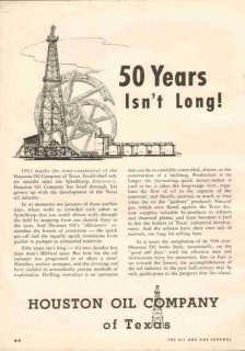 Houston Oil Company of Texas 1951 Vintage Ad Petroleum Gas Drilling