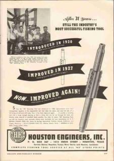 Houston Engineers Inc 1951 Vintage Ad Oilfield Blue Ridge Fishing Tool