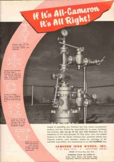 Cameron Iron Works 1951 Vintage Ad Oil Gas Well Drilling Xmas Tree