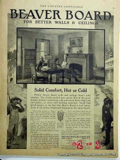 beaver board 1918 solid comfort hot cold home walls ceiling vintage ad
