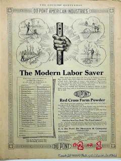 du pont 1918 red cross farm powder dynamite blasting powder vintage ad