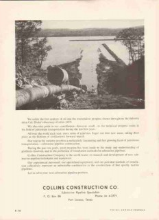 Collins Construction Company 1959 Vintage Ad Oil Gas Pipeline Crossing
