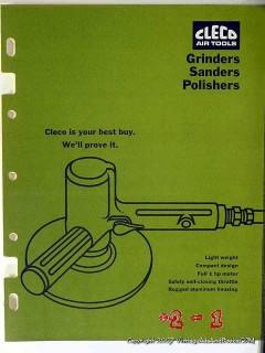 cleco tools 1966 automotive air grinder sander service vintage catalog