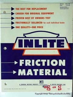 inlite 1952 friction material brake lining sets price vintage catalog
