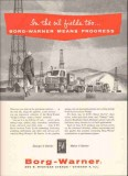 Borg-Warner Inc 1959 Vintage Ad Oil Field Equipment Tools Progress BJ