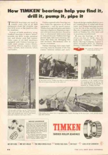 Timken Roller Bearing Company 1951 Vintage Ad Oil Well Drill Pump Pipe