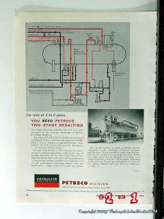 Petrolite Corp 1965 Vintage Ad Oil Petreco Two-Stage Desalting Process