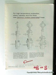 Cameron Iron Works 1965 Vintage Ad Gas Oil Well Custom Assembled Trees