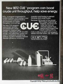 Betz Cue Program 1977 Vintage Ad Oil Gas Petroleum Corrosion Control