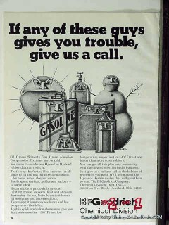 B F Goodrich 1977 Vintage Ad Oil Gasoline Chemicals Trouble Give Call