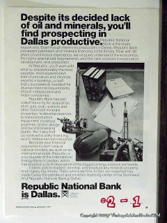 republic national bank 1977 prospecting dallas oil banking vintage ad