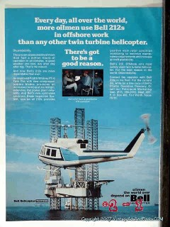 bell helicopter 1977 oilmen use 212 offshore oil rig vintage ad