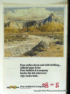Pete Sublett Company 1977 Vintage Ad Oil Drilling Four Miles Deep Well