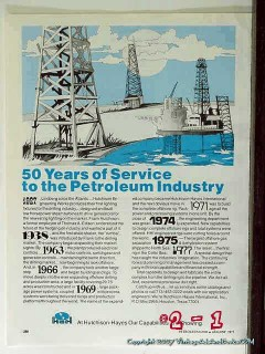 Hutchison-Hayes International Inc 1977 Vintage Ad Oil 50 Years Service