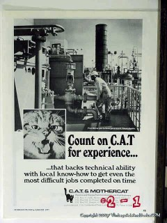CAT Mothercat 1977 Vintage Ad Oil Pipeline Engineers Technical Ability