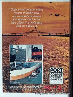 Port Of Corpus Christi TX 1977 Vintage Ad Oil Trade Between Nations