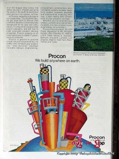 Procon Inc 1977 Vintage Ad Oil Refinery Build Anywhere On Earth UOP