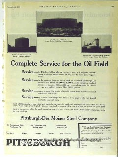 Pittsburgh-Des Moines Steel Company 1928 Vintage Ad Oil Field Service