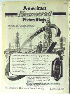 American Hammered Piston Ring Company 1928 Vintage Ad Individualy Cast