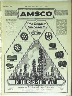 American Manganese Steel Company 1928 Vintage Ad AMSCO Lucey Toughest