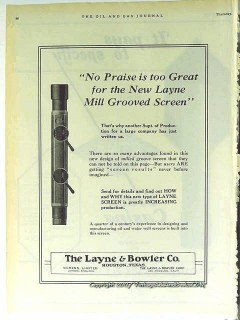 Layne Bowler Company 1928 Vintage Ad Oil Water Well Screen Oilfield