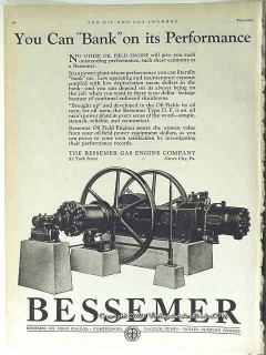 Bessemer Gas Engine Company 1928 Vintage Ad Oil Field Bank Performance