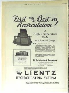B P Lientz Company 1928 Vintage Ad Oil High-Temp Fan Recirculation