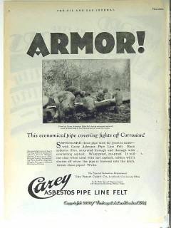 Philip Carey Company 1928 Vintage Ad Oil Field Asbestos Pipe Line Felt