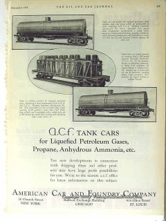 American Car Foundry 1928 Vintage Ad Oil Petroleum Tank Cars Train