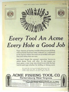 Acme Fishing Tool Company 1928 Vintage Ad Oil Field Every Hole Good