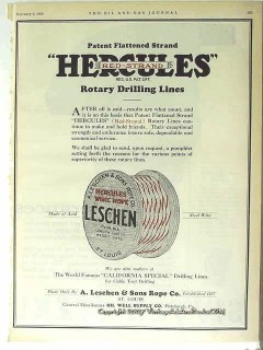 A Leschen Rope Company 1928 Vintage Ad Hercules Rotary Drilling Lines