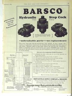 Bartlesville Supply Company 1928 Vintage Ad Barsco Hydraulic Stop Cock