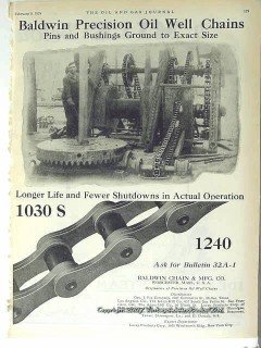 Baldwin Chain Mfg Company 1928 Vintage Ad Precision Oil Well Pins