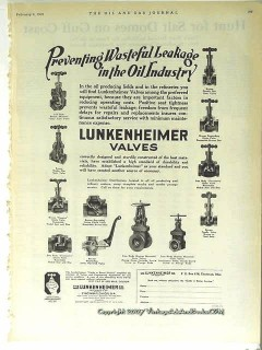 Lunkenheimer Company 1928 Vintage Ad Oil Preventing Wasteful Leakage