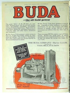 Buda Company 1928 Vintage Ad Oil Field Power JH6 Engine Petroleum