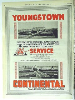 Continental Supply Company 1928 Vintage Ad Gas Oil Field Pipe Pyote TX