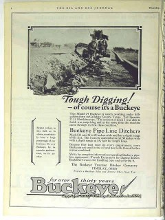 Buckeye Traction Ditcher Company 1928 Vintage Ad Tough Digging Pipe