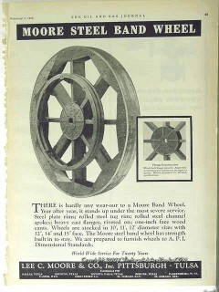 Lee C Moore Company 1928 Vintage Ad Oil Field Steel Band Wheel Flange