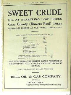 Bell Oil Gas Company 1928 Vintage Ad Sweet Crude Low Prices Petroleum