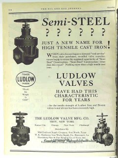 Ludlow Valve Mfg Company 1928 Vintage Ad Oilfield Semi-Steel Cast Iron