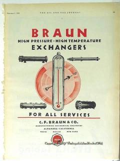 C F Braun Company 1928 Vintage Ad Oil Pressure Temperature Exchangers